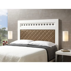 Cabecero de cama  lacado blanco tapizado a rombosM02/1