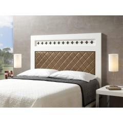 Tête de lit laqué blanc tapissé